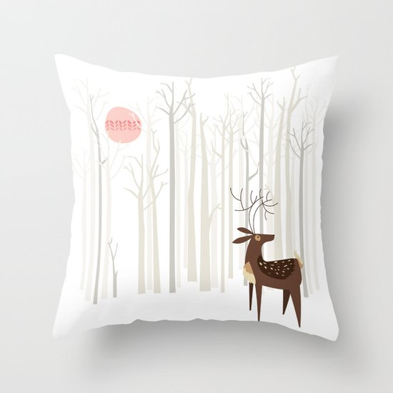 Reindeer of the Silver Wood Throw Pillow