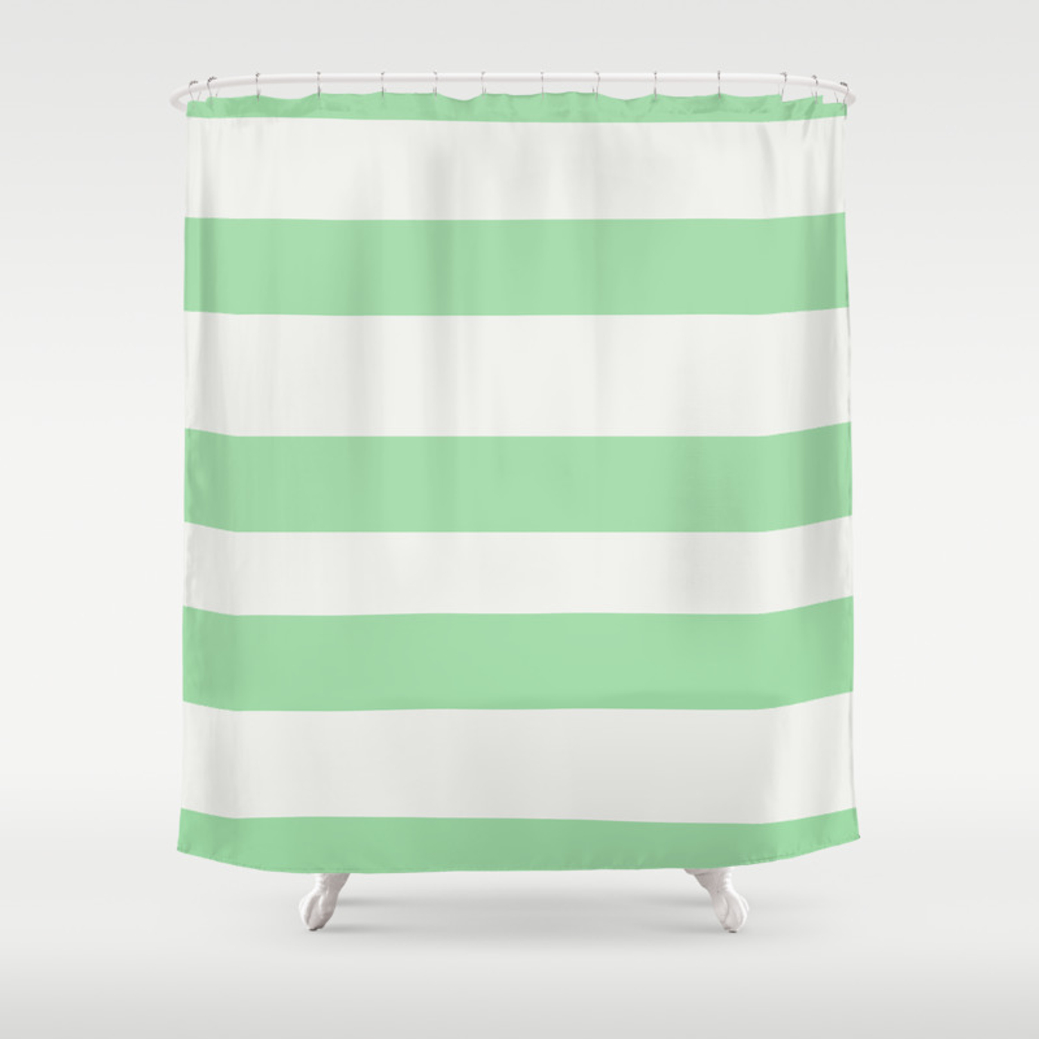 Linen Off White Pastel Melon Green Hand Drawn Fat Line Pattern 2020 Color Of The Year Neo Mint Shower Curtain