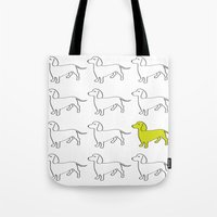 daschund Tote Bags featuring Weenie Collective by WhyitsmeDesign