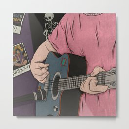 A Guy And His Guitar Metal Print