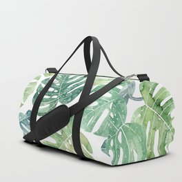 Tropical leaves Monstera leaves Jungle leaves Palm leaves Duffle Bag