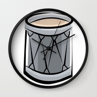 drum Wall Clocks featuring Drum by shopaholic chick