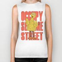 sesame street Biker Tanks featuring OCCUPY SESAME STREET by perilpress
