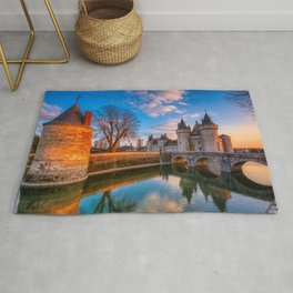 Sully sur Loire at sunset, Loire valley, France. Rug