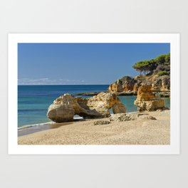 rock formation on Olhos d'Agua beach, Portugal Art Print