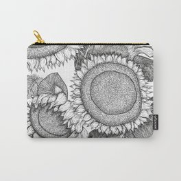 Sunflowers Black and White Ink Drawing Carry-All Pouch
