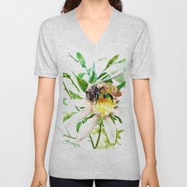 Bee and Flower, Honey Bee, chamomile herbal honey design Unisex V-Neck