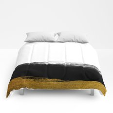 Black and Gold grunge stripes on clear white backround - Stripe- Striped Comforters