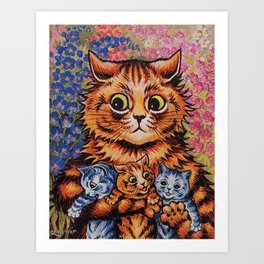 Cat and Her Kittens-Louis Wain Cats Art Print