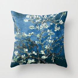 Van Gogh Almond Blossoms : Ocean Blue Throw Pillow