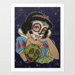 Snow White with apple Sugar Skull Art Print