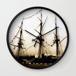 Gold Ship Wall Clock