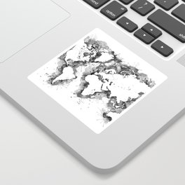 Watercolor splatters world map in grayscale Sticker