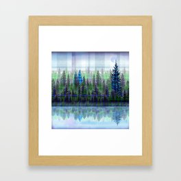 Nature Reflected Plaid Pine Forest Framed Art Print