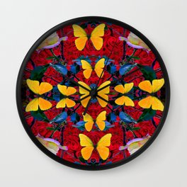RED-WHITE ROSES & YELLOW BUTTERFLIES GARDEN Wall Clock