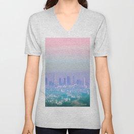 Los Angeles Scenic Southern California Landscape Colored Sun Haze Wall Art Print Unisex V-Neck