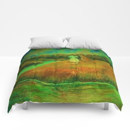 Dogs on hill side water view Comforters