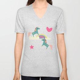 unicorn and rainbow purple Unisex V-Neck