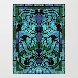 Aqua Green and Blue Art Nouveau Stained Glass Design Poster