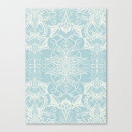 Floral Pattern in Duck Egg Blue & Cream Canvas Print