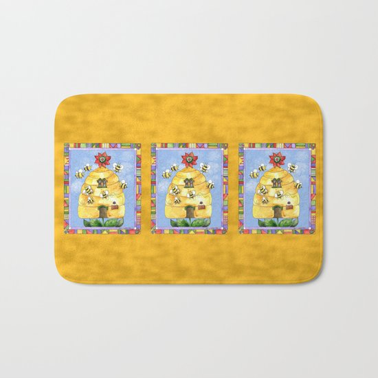 Busy Bees with Border Bath Mat