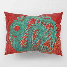 Wooden Jade Dragon Carving on Red Background Pillow Sham