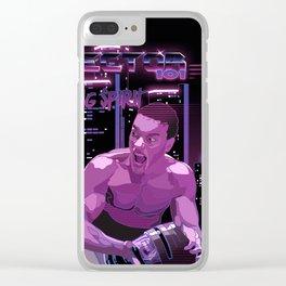 Van Damme vs. Robocop fighting spirit Clear iPhone Case