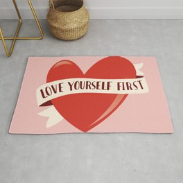 Love Yourself First, Happy Valentine's Day 1 Rug