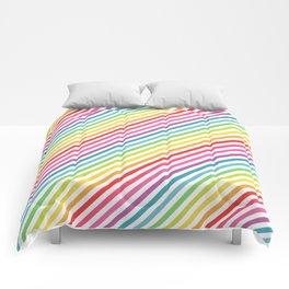 Rainbow Geometric Striped Pattern Comforters