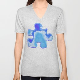 powder blue and indigo sky Unisex V-Neck