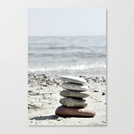 Balancing Stones On The Beach Canvas Print