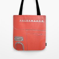 decal Tote Bags featuring Red Volkswagen VW Bus Back Decal Vintage Photography by Tay Silvey
