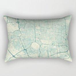 Teheran Map Blue Vintage Rectangular Pillow