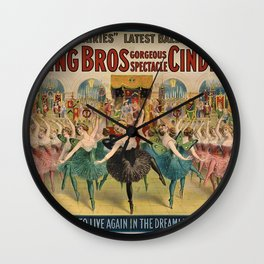 1896 Ringling Brothers Big Top Circus 'Dance of the Fairies' Vintage Poster Wall Clock
