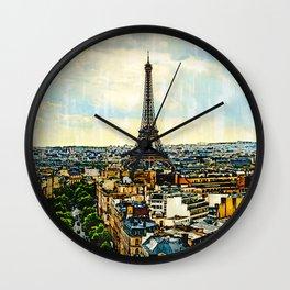 Paris skyline with the Eiffel Tower. France. Wall Clock