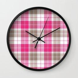 Pink & Natural Tartan Pattern Wall Clock