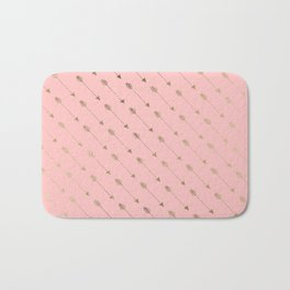 Bohemian elegant faux gold coral modern arrow pattern Bath Mat