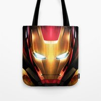iron man Tote Bags featuring IRON MAN IRON MAN by Smart Friend