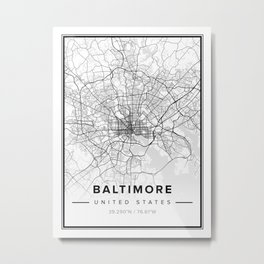 Baltimore Modern Map Metal Print
