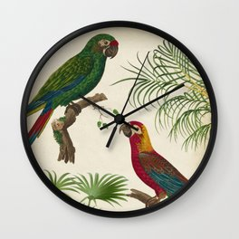 Tropical Parrots with Palms, Vintage Style Wall Clock