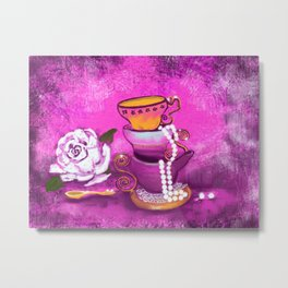 Cups and Pearls Metal Print