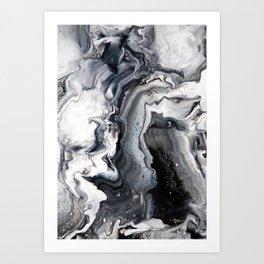 Marble B/W/G Art Print