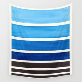 Prussian Blue Minimalist Watercolor Mid Century Staggered Stripes Rothko Color Block Geometric Art Wall Tapestry