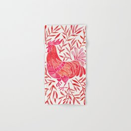 Le Coq – Watercolor Rooster with Red Leaves Hand & Bath Towel
