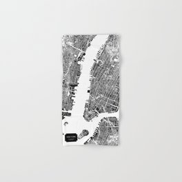 New York City Map United States White and Black Rubbing Hand & Bath Towel