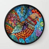 cock Wall Clocks featuring Cock by oxana zaika
