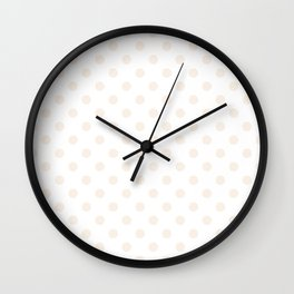 Small Polka Dots - Linen on White Wall Clock