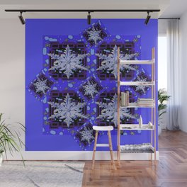 BLUE WINTER HOLIDAY SNOWFLAKES PATTERN ART Wall Mural
