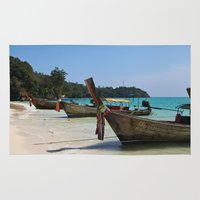 thailand Area & Throw Rugs featuring Thailand Boat by Sweet Little Pixels