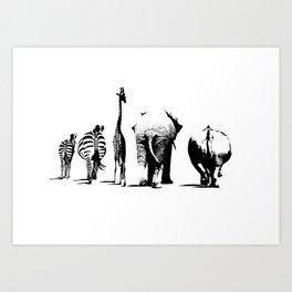 Animal Bums Art Print